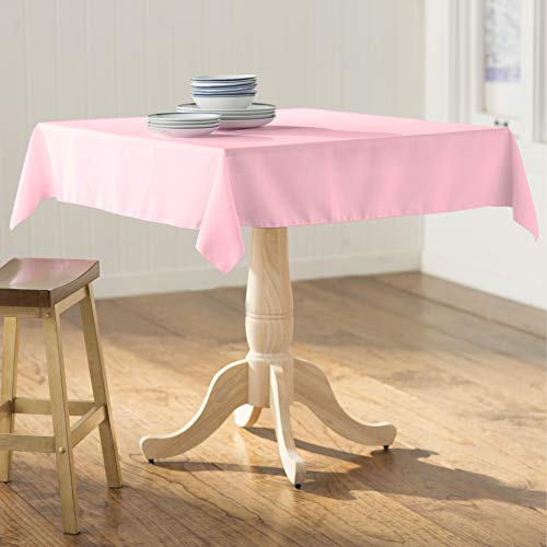 LA Linen Square Tablecloth - 58 x 58 Inch-Square Table Cloth for 36 Table in Washable Polyester - Great for Intimate Dinners, Parties, Holiday Dinner, Wedding & More in Light Pink