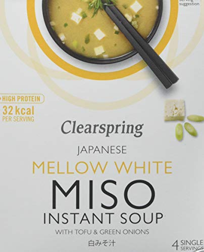Clearspring Mellow White Miso Instant Soup with Tofu 40 g (Pack of 4)