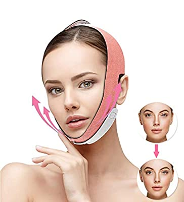 Queenii Pain-Free Face Lifting Belt Chin Strap, Double Chin Reducer, V Line Face Lift for Women Eliminates Sagging Skin Lifting Firming Anti Aging-Face Mask Strap SUPBEC Face Slimming Strap (Orange)