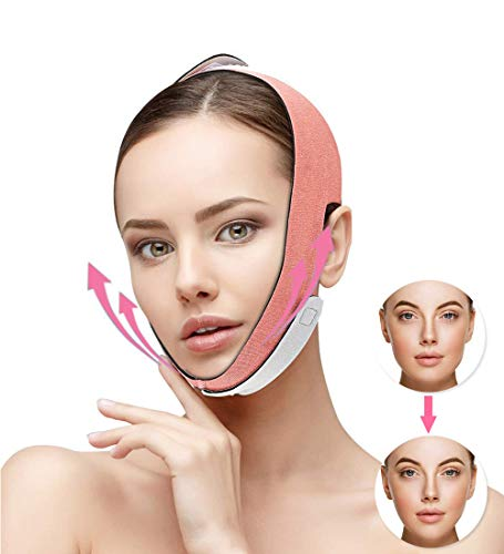 Face Slimming Strap,Queenii Pain-Free Face Lifting Belt Chin Strap,Double Chin Reducer, V Line Face Lift for Women Eliminates Sagging Skin Lifting Firming Anti Aging-Face Mask Strap (Orange)