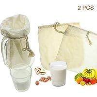 OldPAPA Filtro de algodón orgánico para zumos y batidos, para leche de almendras, reutilizable 12 x 12 pulgadas