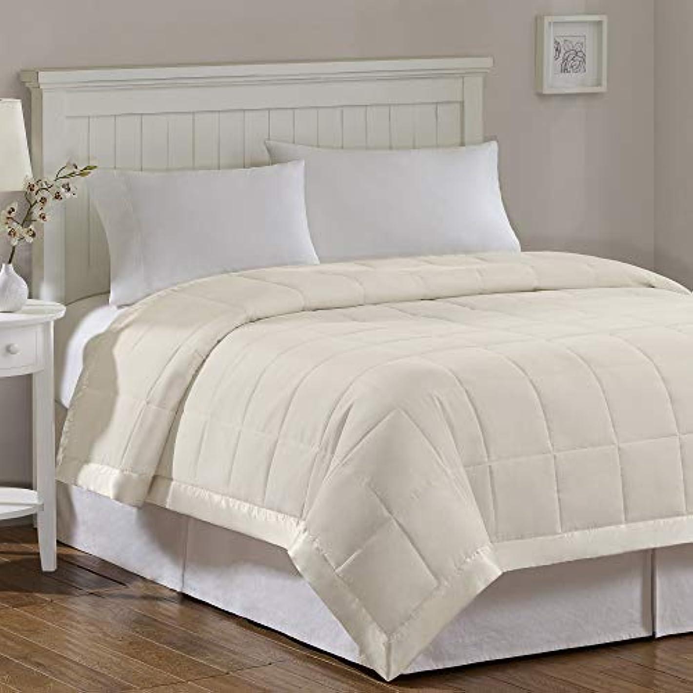 Madison Park Windom Microfiber Down Alternative Stain Resistant Blanket, Full/Queen, Ivory