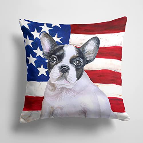 Caroline's Treasures BB9710PW1414 French Bulldog Black White Patriotic Fabric Decorative Pillow, 14Hx14W, Multicolor