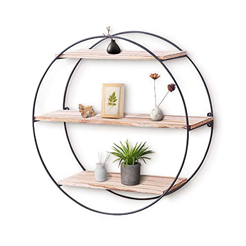 KingSo Wall Shelf Rustic Wood Floating Shelves,Decorative Wall Shelf for Bedroom, Living Room, Bathroom, Kitchen, Office and More (Round)
