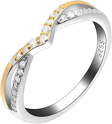 Ginger Lyne Collection Chiara Two Tone Gold Over Sterling Silver V Shape CZ Anniversary Wedding product image