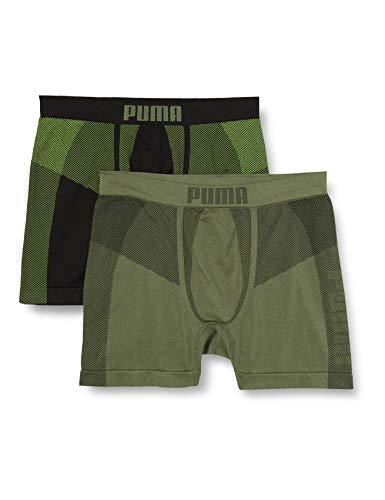 PUMA Mens Seamless Active Men's Boxers (2 Pack) Boxer Shorts, Army Green, L (2er Pack)