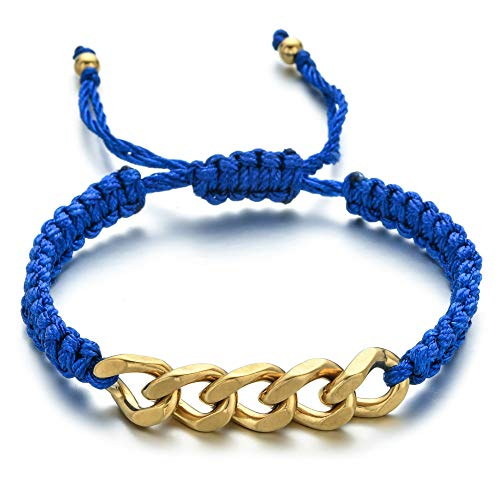 ANGYANG Woven Bracelet,Blue Rope With Chic Stainless Steel Big Golden Chain Woven Adjustable Charm Bracelets Trendy Friendship Gift For Boy Girl Couples Men Women