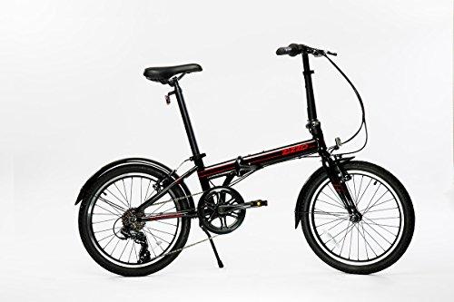"Euro-mini Zizzo Via 20"" Folding Bike-Lightweight Aluminum Frame Genuine Shimano 7-Speed 26lb, Black"