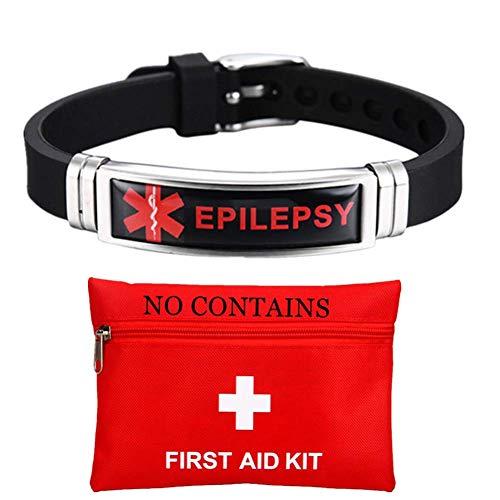 Adjustable Silicone Medical Alert Epilepsy Bracelet for Women Men Kids Star of Life Medic Epilepsy Awareness Wristband Med Jewelry to Alarm
