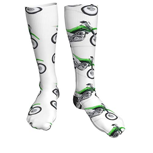 Boys Green Dirt Bike Colorful Patterned Knee High Graduated Compression Socks for Women and Men - Best Medical, Nursing, Travel & Flight Socks - Running & Fitness