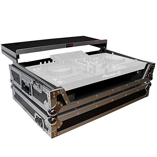 ProX Flight Case for Pioneer XDJRX2 Case with Sliding Laptop Shelf and Wheels - Silver on Black Design - XS-XDJRX2WLT