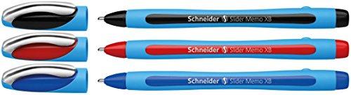 Schneider Slider Memo XB Ballpoint Pen, 3-Pack, Black/Blue/Red (150293)