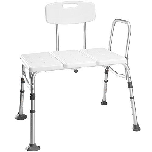 TecTake Sgabello per doccia sedia per doccia predellino per vasca | regolabile in altezza | alluminio - modelli differenti - (Sedia per doccia | no. 402512)