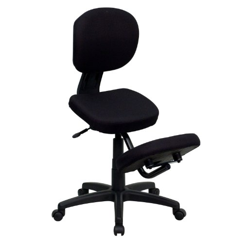 Flash Furniture Mobile Ergonomic Kneeling Posture Task Office Chair with Back in Black Fabric