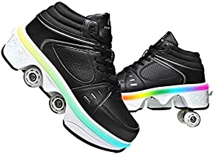 Double-Row Deform Wheel 2 in 1 Removable Pulley Skates Skating Deformation Automatic Walking Shoes Invisible Roller Skate (Light Black, US 10.5)