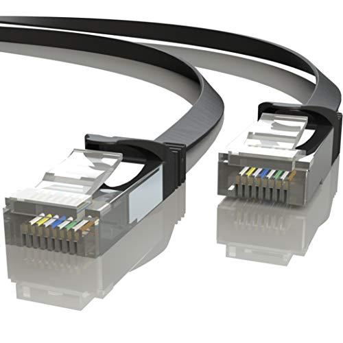Mr. Tronic 20m Cable de Red Plano Ethernet Latiguillo   CAT7, SFTP, CCA, RJ45 (20 Metros, Negro)