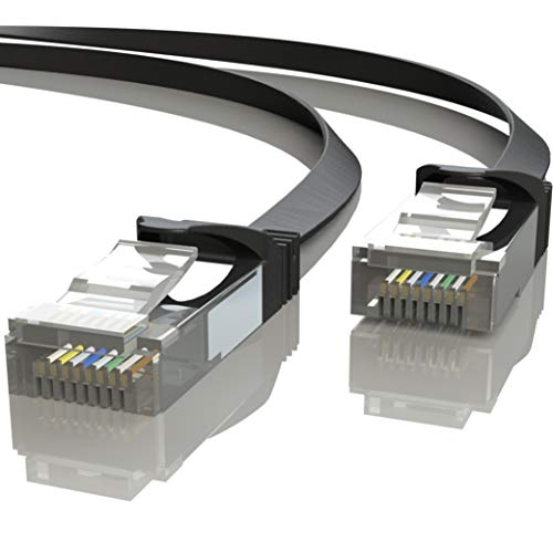 Mr. Tronic 10m Cable de Red Plano Ethernet Latiguillo | CAT7, SFTP, CCA, RJ45 (10 Metros, Negro)