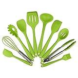 10 piezas de cocina de silicona calor de la cocina que cocina la herramienta resistente cociendo los utensilios antiadherentes Cocinar Juegos de herramientas (Color : Green)
