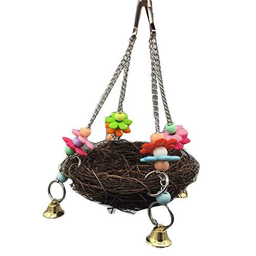 Feixunfan Huisdier Bed Huisdier Canarische Warm Shelter Drake Vogelhuisje Papegaai Rustplaats Met Metalen Klok Comfortabel En Ademend Huisdier Nest