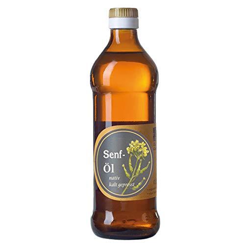 Senf-Öl / Bratöl; Familienbetrieb Ölmühle Garting, 500ml Flasche, Premium Qualität, 100% naturbelassen, kaltgepresst, Rohstoffe aus der Region