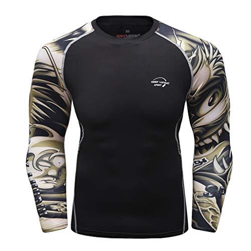 Qinhanjia Laufshirts Sport Funktionsshirt Herren Kompressionsshirt, Herren Langarm Yoga Fitness Sport Print T-Shirt Top Langarm