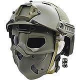 Juegos de Cascos Tácticos Airsoft, con Máscara de Calavera Antivaho y Montura NVG, para Caza de Paintball, Tiro Al Aire Libre CS,Verde,M