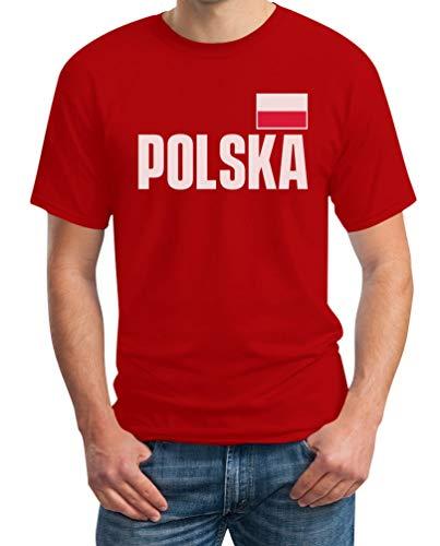 Polska Polen Fußball EM Fanshirt Fan Trikot Herren T-Shirt 5XL Rot