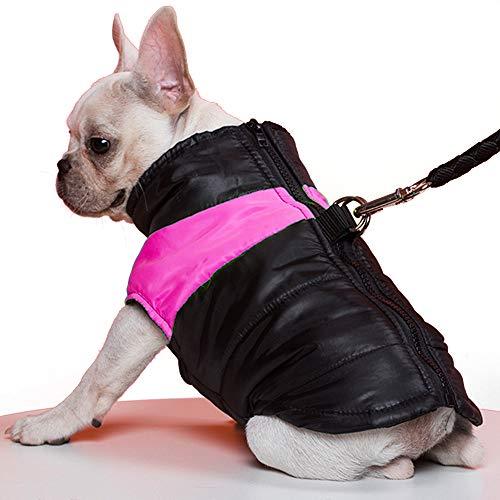 TFENG Hundemantel Hundejacke für Hunde, Warm gepolstert Puffer Weste Welpen Regenmantel mit Fleece (Rosa, L)