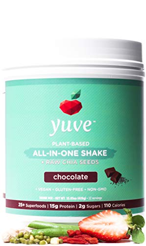Yuve Vegan Protein Powder with Superfoods - Award Winning Taste - Complete Nutritional Shake - Natural Greens, Plant-Based, Non-GMO, Gluten, Dairy, Soy and Lactose Free (Chocolate) 15.03 oz