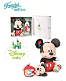 Famosa Softies Disney Baby - Set Caja Regalo Mickey Mouse Peluche + Baby Sonajero Calidad Super Soft