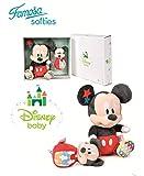 Famosa Softies Disney Baby - Set Scatola Regalo Mickey Mouse Peluche + Baby Sonaglio di qualità Super Soft