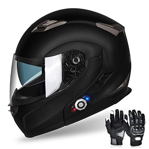 FreedConn Motorcycle Bluetooth Helmet, BM2-S Flip Up Modular Bluetooth Motorcycle Helmet Voice Dial/Hands-Free Call/ 500M/ 2-3 Riders/ MP3/ FM/DOT Motorcycle Helmet with Bluetooth 3.0