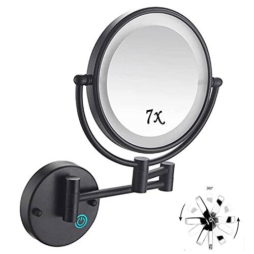 HYZXK Espejo de Maquillaje con Luces y Aumento de 7X, Espejo de Aumento Vanit de Doble Cara de 8 Pulgadas para baño