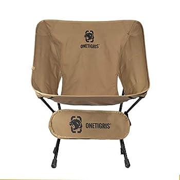 OneTigris Multicam Chaise de camping pliable avec cadre 7075 AL pour pêche, extérieur, randonnée, pique-nique jusqu'à 120 kg