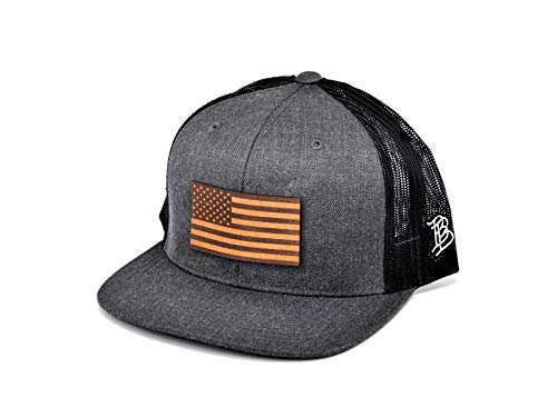 Branded Bills 'The Old Glory' Leather Patch Hat Flat Trucker - One Size Fits All (Charcoal/Black)