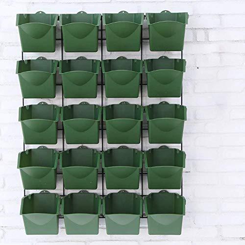 Pflanztöpfe Wand-Garten Vertikale Pflanzenwand Blumentöpfe, An der Wand befestigter hängender Pflanzer, 20 Gesamtfächer, einzigartige Entwurfspläne, einfaches DIY (DarkGreen)