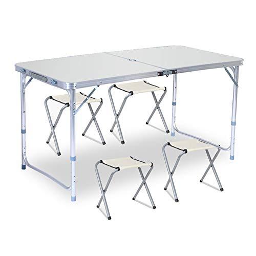 4 Persona Mesa Plegable al Aire Libre Silla Camping Aluminio Alloy Picnic BBQ Table Impermeable Durable Doble Mesa de Mesa 120x60cm (Color : A)