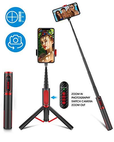 BlitzWolf Palo Selfie Trípode, Selfie Stick Extensible de Aluminio con Control Remoto Bluetooth para Ajustar Enfoque y Cambiar Cámara Delantera y Trasera, para iPhone Samsung Huawei y etc