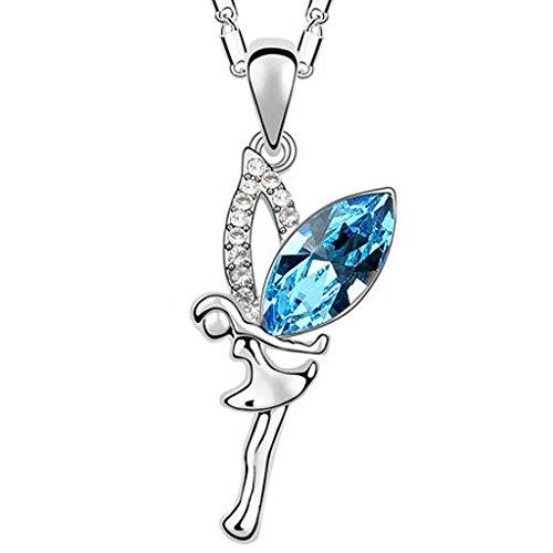 Unendlich U niedlich Elf Engel Ocean Blue Flügel Halskette mit österreichischen Kristall Anhänger Aus Versilbert für Damen/Mädchen/Paare/Liebhaber/Kinder