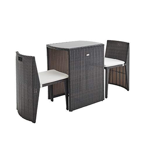 Conjunto de Mesa y sillas de Jardin Ratan Sintetico - Marron/Marron, Cojines Crudo - 2 plazas - Doppio