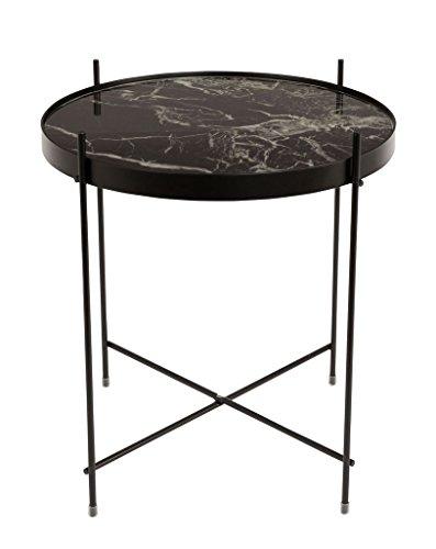Zuiver Beistelltisch Cupid Marble Black, Glas, schwarz, 43 x 43 x 45 cm