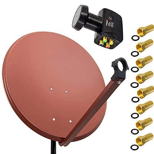 PremiumX Satelliten-Komplettanlage 80cm Satellitenschüssel Ziegelrot Satellitenantenne Quad LNB 8X F-Stecker, SAT für 4 Teilnehmer