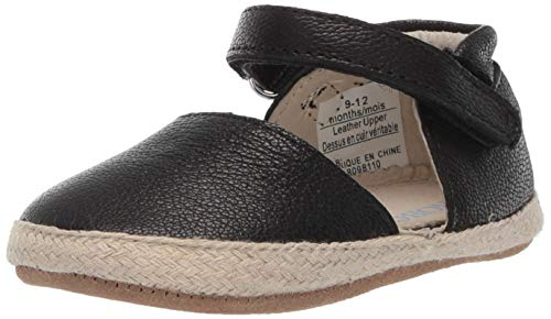 Robeez Girls' Espadrille-First Kicks Crib Shoe, Black, 18-24 Months