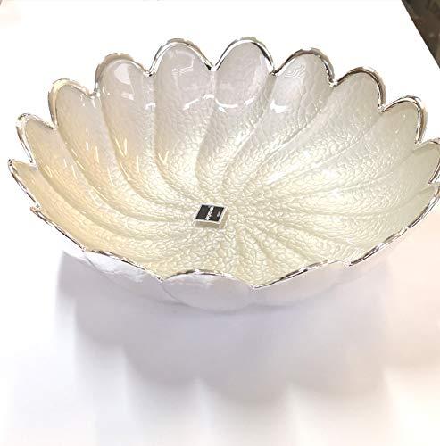 Argenesi Torciglione Vetro Ciotola 22cm–Colore Bianco Perla, Taglia Unica
