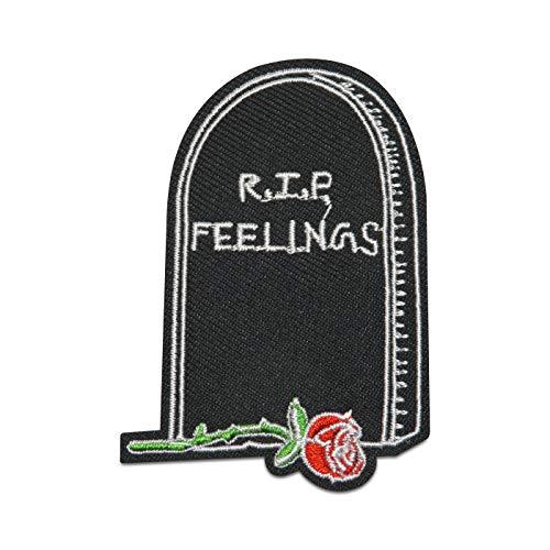 Finally Home RIP Feelings Grabstein mit Rose Bügelbild Patch zum Aufbügeln   Patches, Aufbügelmotive