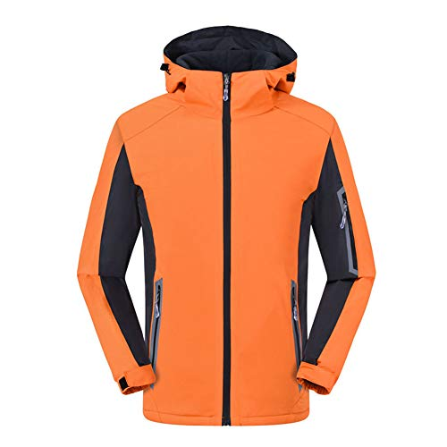 YOUCAI Herren/Damen Winddicht Wasserdicht Bergsteigen Verdicken Fleece gefüttert Winter Warm Walking Wanderhose Jogging Berghose Softshellhose Outdoorhose Abriebfest Funktionshose Orange 3XL