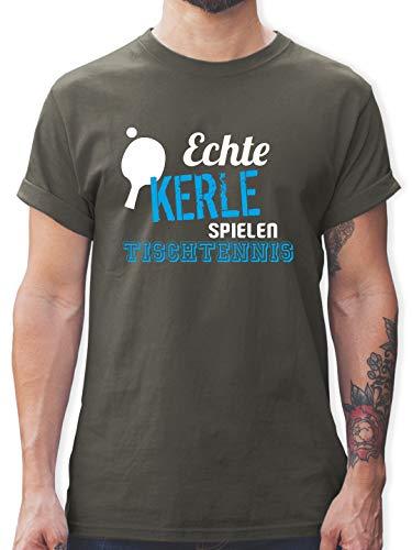 Sonstige Sportarten - Echte Kerle Spielen Tischtennis - XL - Dunkelgrau - Tischtennis Shirt - L190 - Tshirt Herren und Männer T-Shirts