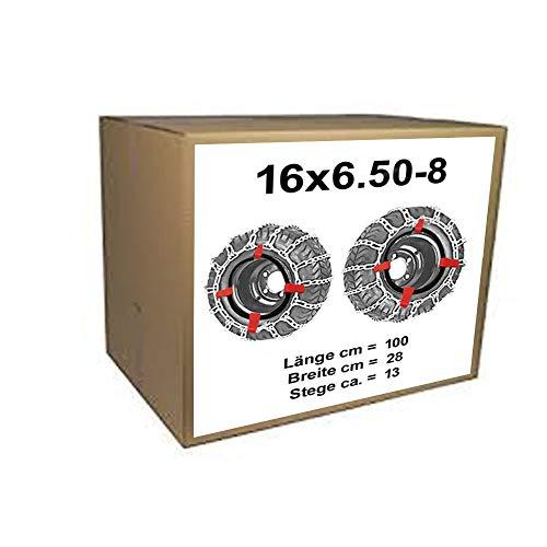 16x6.50-8 Schneeketten + Spanner für Rasentraktor Aufsitzmäher 16 x 6.50-8 und 165/60-8 170/60-8