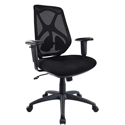 Office Desk Chair Ergonomic with Adjustable Armrests, Seat, and Lumbar Support, Mesh Computer Task Chair, High Back Executive Swivel Chair with Headrest, Black