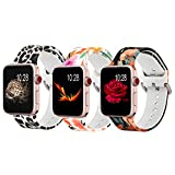 Koreda Floral Bands Compatible with Apple Watch 38mm 40mm, Silicone Fadeless Pattern Printed Replacement Bands for iWatch SE & Series 6 & Series 5/4/3/2/1 for Women Men
